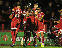 Football - 2019 / 2020 EFL Carabao (League) Cup - Crawley Town vs. Stoke City<br /> <br /> Nathan Ferguson of Crawley celebrates his equalising goal with his team mates, at The Peoples Pension Stadium (Broadfield).<br /> <br /> COLORSPORT/ANDREW COWIE