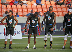 July 19, 2018 - Houston, TX, U.S. - HOUSTON, TX - JULY 19:  Godspeed flex Jarrin Soloman (5),Godspeed wide receiver Lavelle Hawkins (7), Godspeed defensive back Jacoby Jones (13), and Godspeed quarterback Seneca Wallace (15) stand as they are announced during the American Flag Football League Ultimate Final game between the Fighting Cancer and Godspeed on July 19, 2018 at BBVA Compass Stadium in Houston, Texas.  (Photo by Leslie Plaza Johnson/Icon Sportswire) (Credit Image: © Leslie Plaza Johnson/Icon SMI via ZUMA Press)