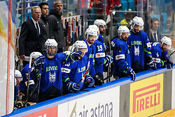 Ken Ograjensek of Slovenia and the bench of Slovenia during ice hockey match between Slovenia and Lithuania at IIHF World Championship DIV. I Group A Kazakhstan 2019, on May 5, 2019 in Barys Arena, Nur-Sultan, Kazakhstan. Photo by Matic Klansek Velej / Sportida