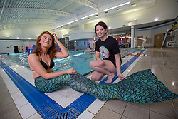 Rosalind Main with Lindsey Leeper, triying out a mermaid classes at Eastfield Leisure Centre.