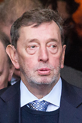 © Licensed to London News Pictures . 16/01/2014 . Salford , UK . David Blunkett , MP for Sheffield Brightside and Hillsboroug , after the service . The funeral of Labour MP Paul Goggins at Salford Cathedral today (Thursday 16th January 2014) . The MP for Wythenshawe and Sale East died aged 60 on 7th January 2014 after collapsing whilst out running on 30th December 2013 . Photo credit : Joel Goodman/LNP