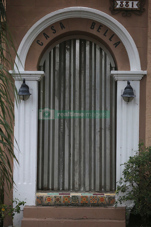 October 7, 2016 - Florida, U.S. - Hurricane protection on the door of a house in Lake Worth Friday, October 7, 2016. (Credit Image: © Bruce R. Bennett/The Palm Beach Post via ZUMA Wire)