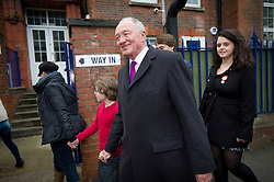 © London News Pictures. 03/05/2012. London, UK.  Labour Mayoral candidate KEN LIVINGSTONE arriving at his local polling station with his family at Nora Primary School in Cricklewood, London to vote in the 2012 London mayoral elections on May 3, 2012. Photo credit: Ben Cawthra/LNP