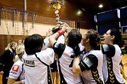 Team of RK Krim lifting trophy at last 10th Round handball match of Slovenian Women National Championships between RK Krim Mercator and RK Olimpija, on May 15, 2010, in Galjevica, Ljubljana, Slovenia. Olimpija defeated Krim 39-36, but Krim became Slovenian National Champion. (Photo by Vid Ponikvar / Sportida)