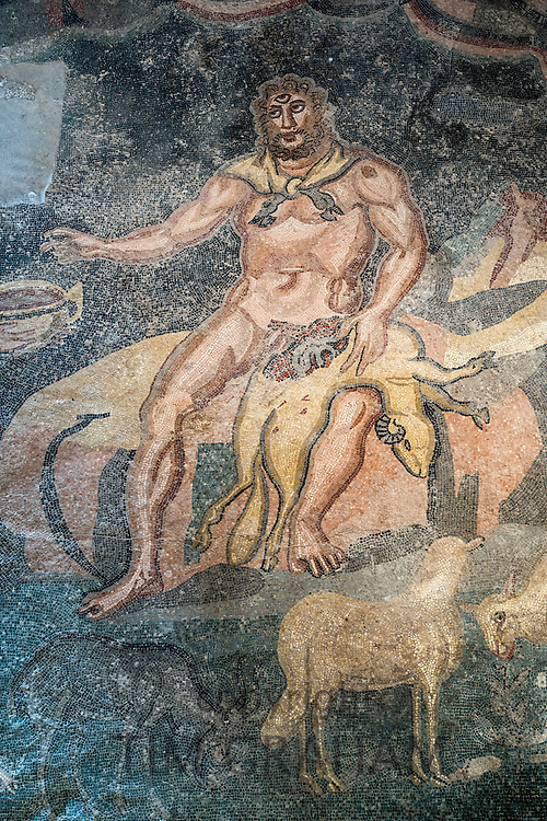 Ulysses in cave of Polyphemus mosaic from Homer's Odyssey at Triclinium Villa Romana del Casale, Piazza Armerina, Sicily