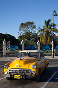 Old Amercian car in excellent condition parked in old Havana, Cuba.  .