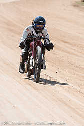Brittney Olsen at the Pappy Hoel Classic Half Track Vintage race day during the annual Sturgis Black Hills Motorcycle Rally.  SD, USA.  August 8, 2016.  Photography ©2016 Michael Lichter.