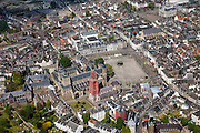 Nederland, Limburg, Gemeente Maastricht, 27-05-2013; <br /> Vrijthof met terrassen en muziektent in het historische centrum vam Maastricht, rode toren van de Sint Janskerk staat naast de Sint Servaasbasiliek,  witte gebouw midden in beeld is het Museum aan het Vrijthof. Links Sint Jansklooster en Onder de Bogen. Linksboven het oude stadhuis (gemeentehuis) enwinkel- en kantorencomplex Mosae Forum .<br /> Vrijthof with terraces and bandstand in the historic center of Maastricht, red tower of St Jan's Church is next to the Basilica of St. Servaas.<br /> luchtfoto (toeslag op standaardtarieven);<br /> aerial photo (additional fee required);<br /> copyright foto/photo Siebe Swart.