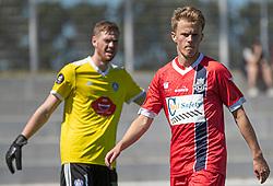 Prøvespilleren Andreas Smed (FC Helsingør) under træningskampen mellem FC Helsingør og HIK den 1. august 2020 på Helsingør Ny Stadion (Foto: Claus Birch).