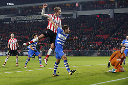 (L-R), Luuk de Jong of PSV, Nicolas Freire of PEC Zwolle during the Dutch Eredivisie match between PSV Eindhoven and PEC Zwolle at the Phillips stadium on February 03, 2018 in Eindhoven, The Netherlands