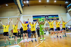 Players of Athlete Celje celebrate after winning the basketball game between ZKK Athlete Celje and ZKK Triglav Kranj in Final of Slovenian Women National Championship 2014, on April 16, 2014 in Celje, Slovenia. Athlete Celje won 3-0 and became Slovenian Women Basketball Champion 2014. Photo by Vid Ponikvar / Sportida