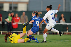 Christie Murray of Bristol Academy challenges Sophie Baggaley of Birmingham City Ladies for the ball - Mandatory byline: Dougie Allward/JMP - 07966386802 - 05/09/2015 - FOOTBALL - SGS Wise Campus -Bristol,England - Bristol Academy Womens v Birmingham City Ladies - FA Womens Super League