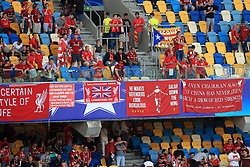 Liverpool fans hang banners in the stands during the UEFA Champions League Final at the NSK Olimpiyskiy Stadium, Kiev. PRESS ASSOCIATION Photo. Picture date: Saturday May 26, 2018. See PA story SOCCER Champions League. Photo credit should read: Peter Byrne/PA Wire