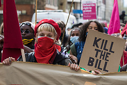 London, UK. 1st May, 2021. Feminists join thousands of people attending a Kill The Bill demonstration as part of a National Day of Action to mark International Workers Day. Nationwide protests have been organised against the Police, Crime, Sentencing and Courts Bill 2021, which would grant the police a range of new discretionary powers to shut down protests.