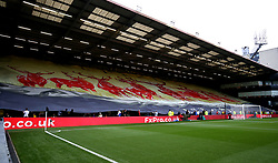A general view of a giant banner featuring stags in the stand during the Premier League match at Vicarage Road, Watford.