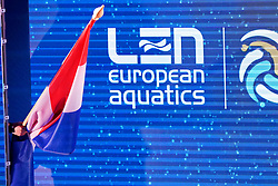 The Dutch flag and shadow before the semi final Netherlands vs Russia on LEN European Aquatics Waterpolo January 23, 2020 in Duna Arena in Budapest, Hungary