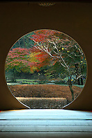 Moon Window at Meigetsuin - a Zen temple in Kamakura in harmony with nature. Composed of two gardens, one zen dry garden in front and a strolling garden in back. Meigetsuin is well-known for the many hydrangea in bloom in June, and vivid maples leaves in autumn.