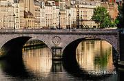 France, Paris (75), Pont Saint Michel, Apartment houses on left bank of Seine