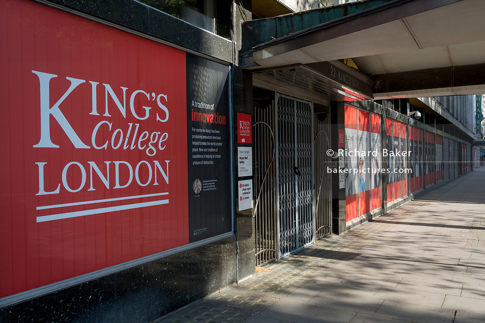 As the UK government's lockdown restrictions during the Coronavirus pandemic continues, and number of UK reported cases rose to 138,078 with a total now of 18,738 deaths, the faces and biographies of famous alumni outside one of UCL's sites on Kingsway, on 23rd April 2020, in London, England. King's College London is a public research university located in London, United Kingdom, and a founding college and member institution of the federal University of London.