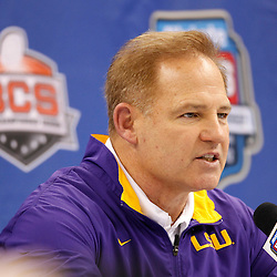 January 6, 2012; New Orleans, LA, USA; LSU Tigers head coach Les Miles talks during Media Day for the 2012 BCS National Championship game to be played on January 9, 2012 against the Alabama Crimson Tide at the Mercedes-Benz Superdome.  Mandatory Credit: Derick E. Hingle-US PRESSWIRE