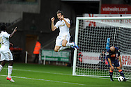 Swansea city's Michu © celebrates after he scores his sides 2nd goal. Pre-season friendly match, Swansea city v Blackpool at the Liberty Stadium in Swansea, South Wales on Tuesday 7th August 2012. pic by Andrew Orchard, Andrew Orchard sports photography,