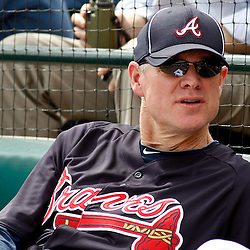 March 5, 2011; Lake Buena Vista, FL, USA; Former Atlanta Braves player Dale Murphy watches during a spring training exhibition game against the New York Mets at Disney Wide World of Sports complex. Mandatory Credit: Derick E. Hingle-US PRESSWIRE