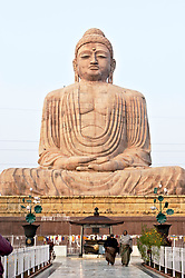 Jan 07, 2005; Bodhgaya, Bihar, INDIA;The 25m high Great Buddha Statue in the Japanese Kamakura style was unveiled by the Dalai Lama in 1989. Bodhgaya is where the Buddha reached enlightenment and is thus the most important Buddhist pilgrimage destination in the world. The Mahabodhi Temple and adjacent Bodhi tree marks the spot where the Buddha achieved enlightenment and set out on his life of preaching. Monks come from around the world to meditate, worship and study.