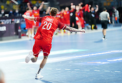 14.01.2021, 6th of October Sports Hall, Gizeh, EGY, IHF WM 2021, Österreich vs Schweiz, Herren, Gruppe E, im Bild Jubel, Sebastian Frimmel, // during the IHF men's World Championship group E match between Austria and Switzerland at the 6th of October Sports Hall in Gizeh, Egypt on 2021/01/14. EXPA Pictures © 2020, PhotoCredit: EXPA/ Diener/Eva Manhart<br /> <br /> *****ATTENTION - OUT of AUT and SUI*****