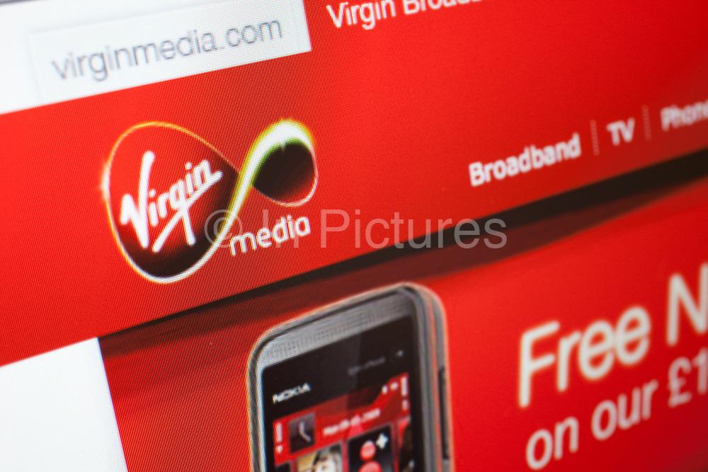Computer screen showing the website for Virgin Media.