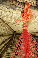 GORGONA, PANAMA - MARCH 08: A colorful hammock hangs from the interior of a hut. March 08, 2011.  Gorgona Beach, Panamá. (Photo: Rubén Alfú / Istmophoto)