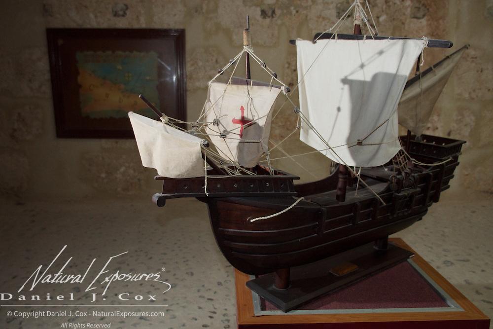 Model of Columbus' ship that visited Cuba in the Morro Castle Museum, Havana, Cuba.