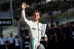 Mercedes' Nico Rosberg collects the fastest lap award before the Abu Dhabi Grand Prix at the Yas Marina Circuit, Abu Dhabi.