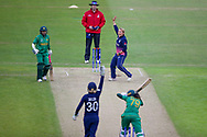 England womens cricket player Danielle Hazell  and England womens cricket player Sarah Taylor (wk)  appeal in vain for a stumping but the umpire gives a wideduring the ICC Women's World Cup match between England and Pakistan at the Fischer County Ground, Grace Road, Leicester, United Kingdom on 27 June 2017. Photo by Simon Davies.