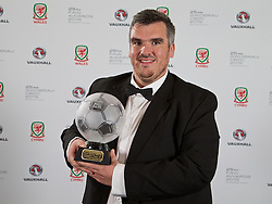 CARDIFF, WALES - Monday, October 5, 2015: FAW Fair Play Award winner Welsh Alliance League Division Two Llangefni Town FC during the FAW Awards Dinner Dinner at Cardiff City Hall. (Pic by David Rawcliffe/Propaganda)