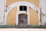 A wooden door on the inner courtyard of the Mooro Castle in Old San Juan.