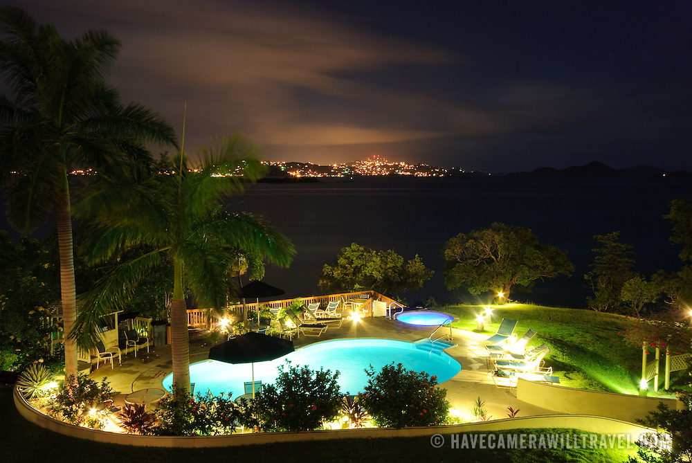 Luxury Caribbeal Resort pool at night
