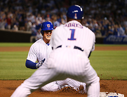 June 19, 2017 - Chicago, IL, USA - Chicago Cubs first baseman Anthony Rizzo (44) slides safely into third base for a triple during the sixth inning against the San Diego Padres on Monday, June 19, 2017 at Wrigley Field in Chicago, Ill. (Credit Image: © Nuccio Dinuzzo/TNS via ZUMA Wire)
