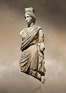 Roman statue of Tyche. Marble. Perge. 2nd century AD. Inv no 3062 . Antalya Archaeology Museum; Turkey.  Against a warm art background.<br /> <br /> A Tyche; was the presiding tutelary deity who governed the fortune and prosperity of a city; its destiny. In Classical Greek mythology; she is the daughter of Aphrodite and Zeus or Hermes. .<br /> <br /> If you prefer to buy from our ALAMY STOCK LIBRARY page at https://www.alamy.com/portfolio/paul-williams-funkystock/greco-roman-sculptures.html . Type -    Antalya     - into LOWER SEARCH WITHIN GALLERY box - Refine search by adding a subject, place, background colour, museum etc.<br /> <br /> Visit our ROMAN WORLD PHOTO COLLECTIONS for more photos to download or buy as wall art prints https://funkystock.photoshelter.com/gallery-collection/The-Romans-Art-Artefacts-Antiquities-Historic-Sites-Pictures-Images/C0000r2uLJJo9_s0