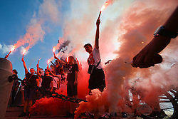 August 1, 2017 - Krakow, Poland - Members of the Nationalist Parties light up torches during a commemorative ceremony of the 73rd anniversary of Warsaw Upraising in Krakow's Main Square. (Credit Image: © Artur Widak/NurPhoto via ZUMA Press)