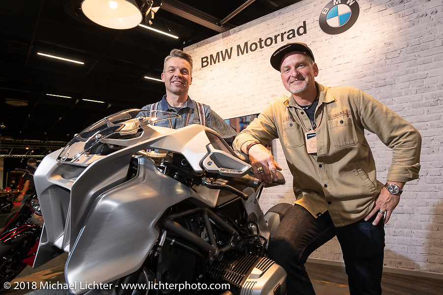 BMW's Christian Pingitzer and Matthias Runde with a Blechmann / Bernhard Naumann custom RnineT Pure named  Giggerl in the BMW Soul Fuel booth in the Intermot Customized Hall during the Intermot International Motorcycle Fair. Cologne, Germany. Thursday October 4, 2018. Photography ©2018 Michael Lichter.