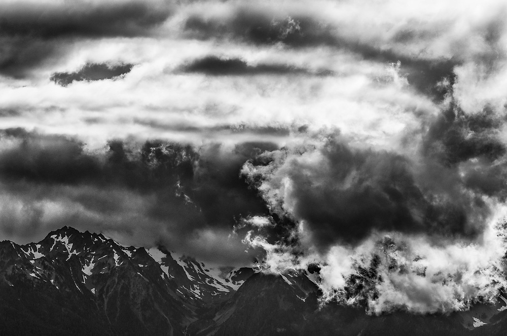 The Bailey Range, afternoon clouds, August, Elwha River wastershed, Olympic National Park, Clallam County, Washington, USA