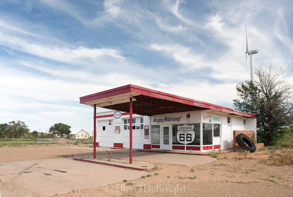 Old Esso gas station on Route 66 in Tucumcari, New Mexico