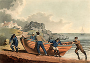Hauling a clinker-built rowing boat on shore. Aquatint, London, 1821.