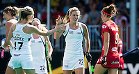 ANTWERP -    Gemma Flynn (m)  scored during  the hockeymatch   Belgium vs New Zealand (0-2). left Sophie Cocks and right Lieselotte  van Lindt.  WSP COPYRIGHT KOEN SUYK