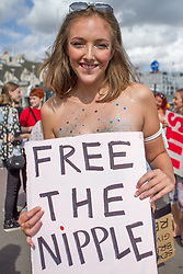 August 19, 2017 - Women gathered on Brighton seafront and marched to Hove Lawns, in protest about the objectification and sexualisation of the female breast (Credit Image: © Matt Duckett/ImagesLive via ZUMA Wire)