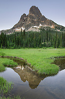 Liberty Bell Mountain reflected in still waters of State Creek, in meadows of Washington Pass. North Cascades Washington