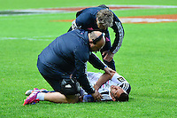 Blessure Julien ARIAS - 24.04.2015 - Stade Francais / Stade Toulousain - 23eme journee de Top 14<br />