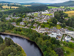 Aerial view from drone of village of  Craigellachie on River Spey, Speyside, Moray, Scotland, UK