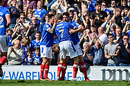Portsmouth Midfielder, Carl Baker (7) celebrates in front of the Portsmouth fans after scoring a goal 1-0 during the EFL Sky Bet League 2 match between Portsmouth and Cambridge United at Fratton Park, Portsmouth, England on 22 April 2017. Photo by Adam Rivers.