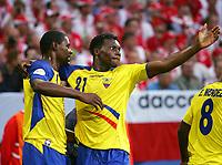 Fotball<br /> VM 2006<br /> 09.06.2006<br /> Ecuador v Polen<br /> Foto: Witters/Digitalsport<br /> NORWAY ONLY<br /> <br /> 0:1 Jubel v.l. Augustin Delgado, Carlos Tenorio Ecuador<br /> Fussball WM 2006 Polen - Ecuador